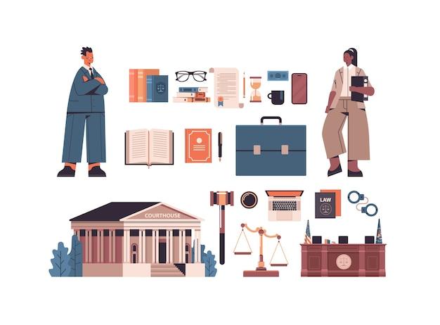 Recht en rechtvaardigheid set mix race man vrouw advocaten en iconen collectie horizontale volledige lengte geïsoleerde vector illustratie