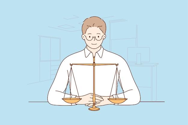 Recht, justitie, notaris, werkconcept.