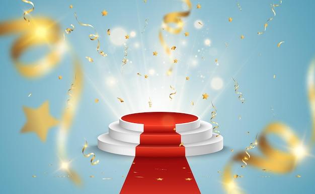 Rechte voering voor prijswinnaars. voetstuk of platform voor het eren van prijswinnaars.