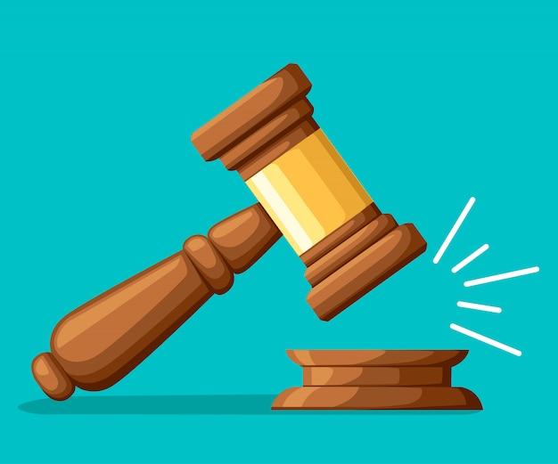 Rechter houten hamer. hamer in cartoon-stijl. ceremoniële hamer voor veiling, oordeel. illustratie op turkooizen achtergrond. website-pagina en mobiele app