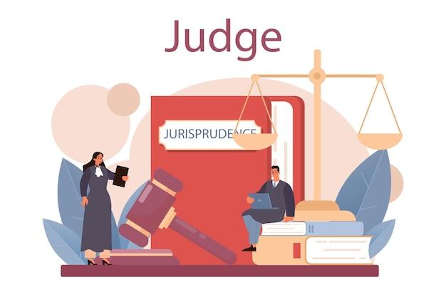 Rechter in traditionele zwarte mantel die een zaak hoort en een platte vectorillustratie veroordeelt