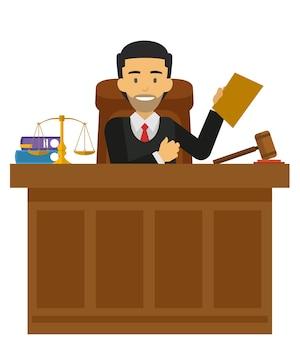 Rechter karakter werkt aan het hof