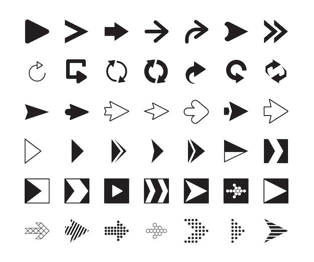 Rechter pijlen. klik op volgende richting symbolen digitale pijlen. navigatie-app met pijlaanwijzer, verzamelingsindicator rechtstreeks voor website