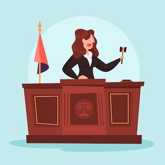 Rechter vrouw in de rechtszaal. vrouwelijk personage in uniform