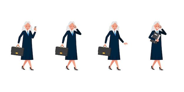 Rechter vrouw karakter. presentatie in verschillende acties.