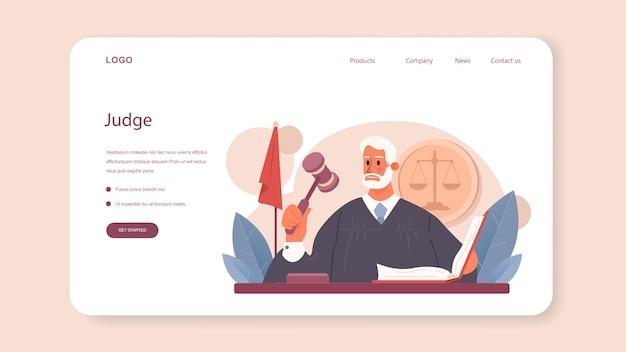 Rechter webbanner of landingspagina gerechtsmedewerker staat voor gerechtigheid en recht