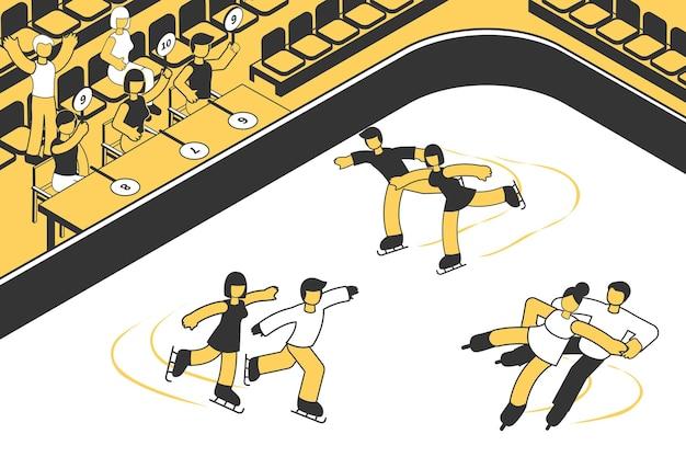 Rechters kijken naar drie paren die deelnemen aan de kunstschaatswedstrijd isometrisch