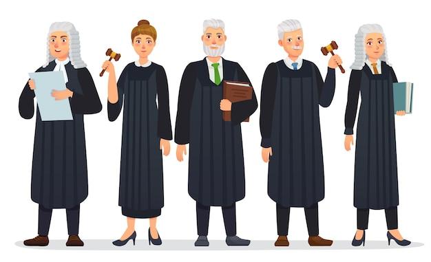 Rechters team. wetsrechter in zwart gewaadkostuum, gerechtshoven en gerechtswerkers