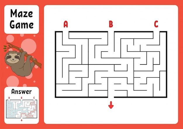 Rechthoek doolhof. spel voor kinderen. drie ingangen, één uitgang.