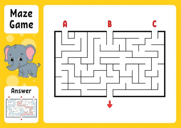 Rechthoek doolhof. spel voor kinderen.