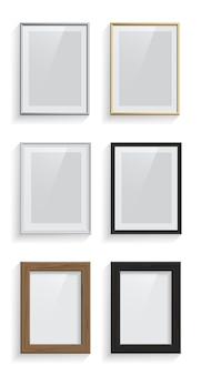 Rechthoek foto of fotolijsten set geïsoleerd op een witte achtergrond.