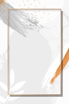 Rechthoek gouden frame op botanische memphis patroon achtergrond