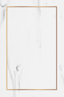 Rechthoek gouden frame op witte marmeren achtergrond vector