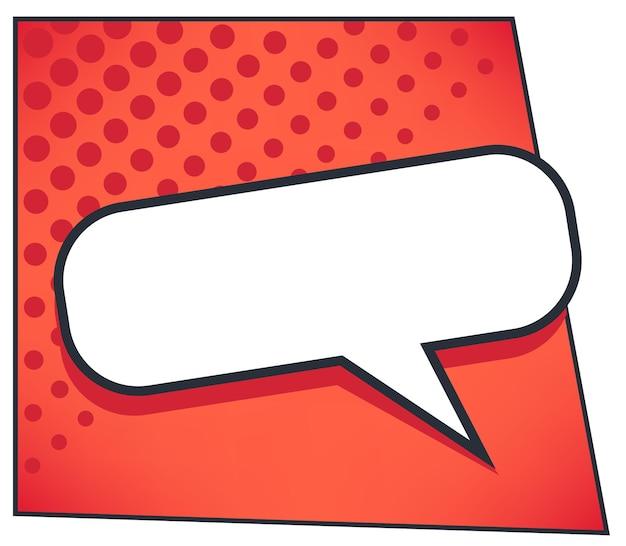 Rechthoekig dialoogvenster in stripboekstijl of chatbox, tekstballon in retro. pop-art-effect, expressie en communicatie van personages, gesprekken en het delen van ideeën. vector in vlakke afbeelding