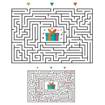 Rechthoekig doolhof labyrint spel voor kinderen. labyrint logica raadsel. drie ingangen en één goede weg te gaan.