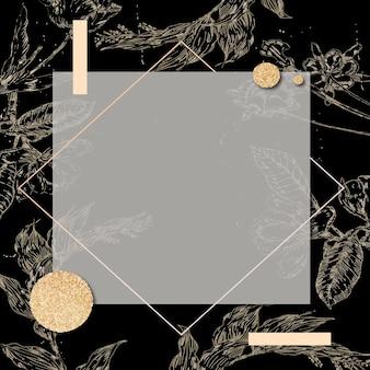 Rechthoekig frame met een omtrek laat decoratie op zwarte achtergrond