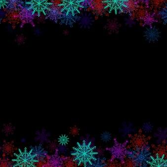 Rechthoekig frame met kleine kleurrijke sneeuwvlokken