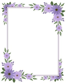 Rechthoekig frame met paarse madeliefje bloemenrand