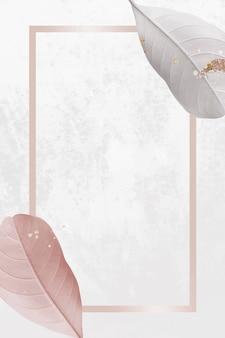 Rechthoekig frame met pastelbladeren achtergrondontwerpbron
