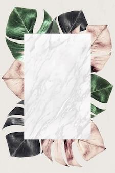 Rechthoekig frame op metalen gespleten bladpatroonachtergrond