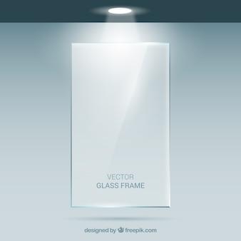 Rechthoekig glazen frame in realistische stijl
