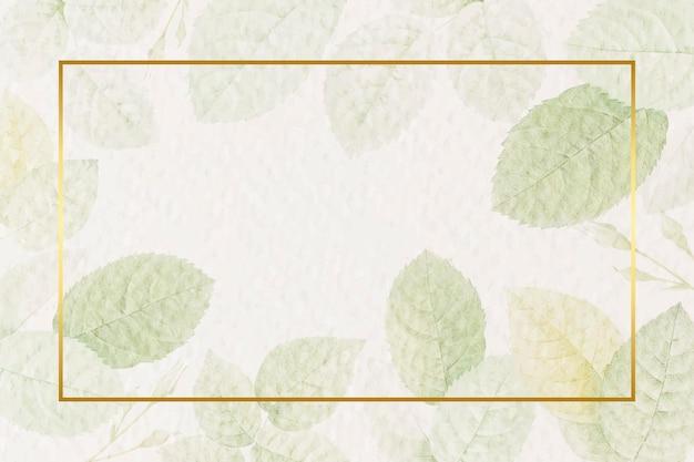 Rechthoekig gouden frame met gebladerte achtergrond