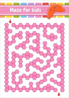 Rechthoekig kleurenlabyrint. spel voor kinderen. grappig labyrint. onderwijs ontwikkelen werkblad.