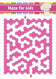 Rechthoekig kleurenlabyrint. spel voor kinderen. grappig labyrint.