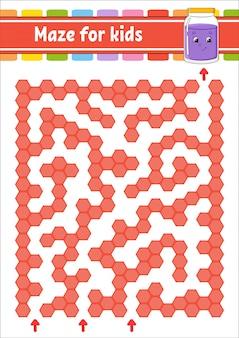 Rechthoekig kleurenlabyrint. spel voor kinderen.