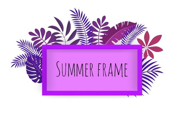 Rechthoekig tropisch frame, sjabloon met plaats voor tekst. illustratie, op wit.