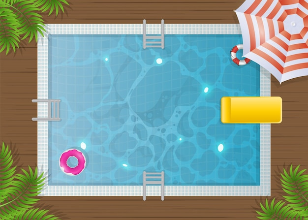 Rechthoekig zwembad bovenaanzicht. zomer.