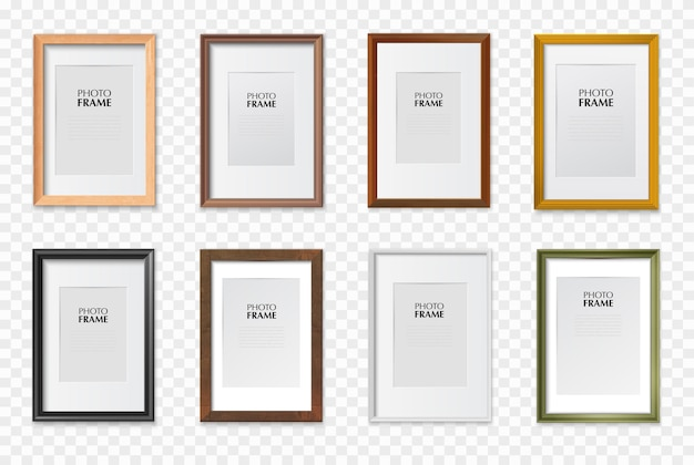 Rechthoekige a4 papierformaat fotolijsten diverse kleuren houten kunststof metalen realistische set