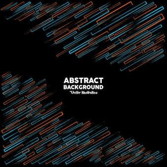 Rechthoekige abstracte omtrek in oranje en blauwe kleuren op zwarte achtergrond