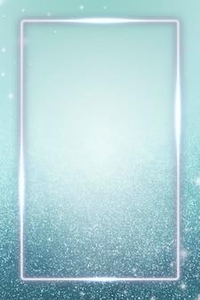 Rechthoekige blauwe neon frame achtergrond