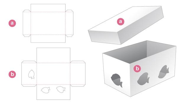 Rechthoekige doos met cartoonvormig visvenster en deksel gestanst sjabloon
