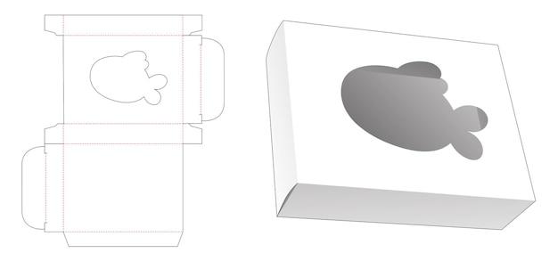 Rechthoekige doos met gestanste sjabloon in de vorm van een vis in de vorm van een cartoon raam