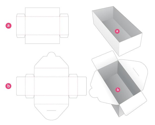 Rechthoekige doos met ingepakte omslag gestanst sjabloon