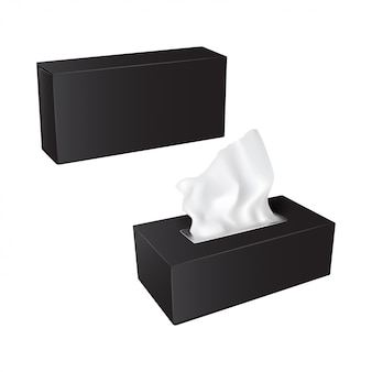Rechthoekige doos met papieren servetten. realistische verpakkingsset