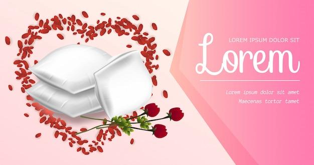 Rechthoekige kussens met prachtige rode rozenbloem