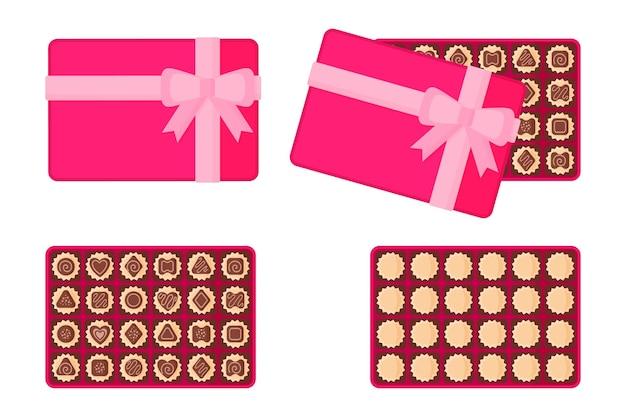 Rechthoekige roze doos chocolaatjes.