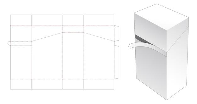 Rechthoekige verpakkingsdoos met gestanste sjabloon met ritssluiting
