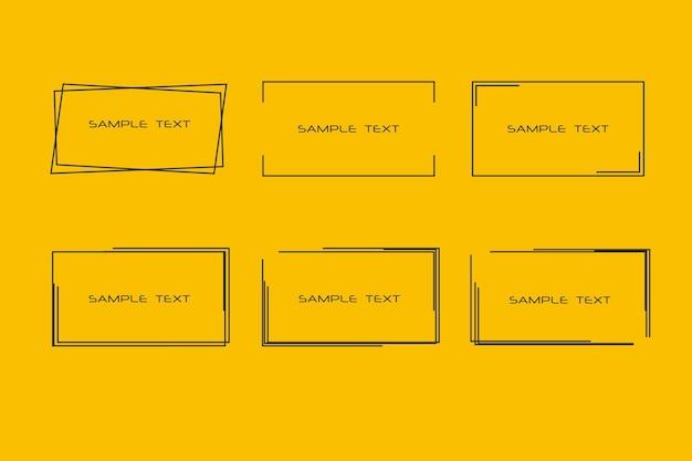 Rechthoekige zwarte kaders voor uw tekst achtergronden voor labels etiketten kaarten