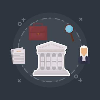 Rechtsgebouw en recht en rechtvaardigheid gerelateerde pictogrammen