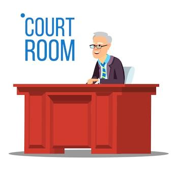 Rechtszaal. oude rechter in de rechtszaal. gerechtsgebouw.