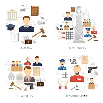 Rechtvaardigheid 4 vlakke pictogrammen vierkante banner