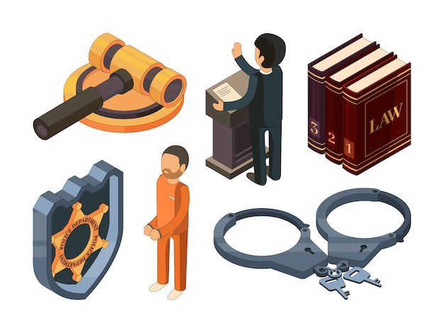 Rechtvaardigheid isometrisch. juridische hamer rechtszaal straf vervolging 3d symbool geïsoleerd op wit