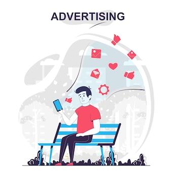Reclame en online promotie geïsoleerde cartoon concept advertentiecampagne op sociale media
