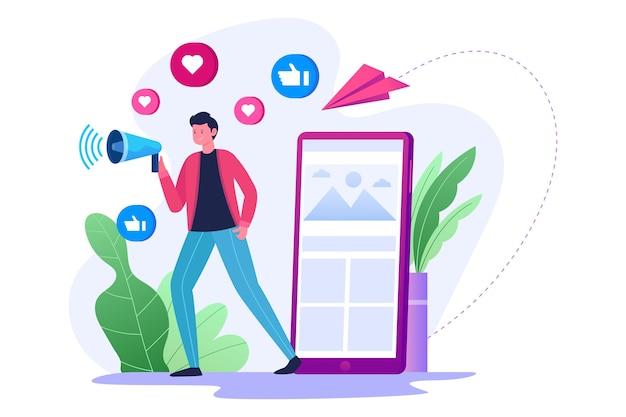 Reclame en sociale media-promotie voor een marketingstrategie
