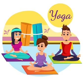 Reclame inscriptie yoga cartoon flat.