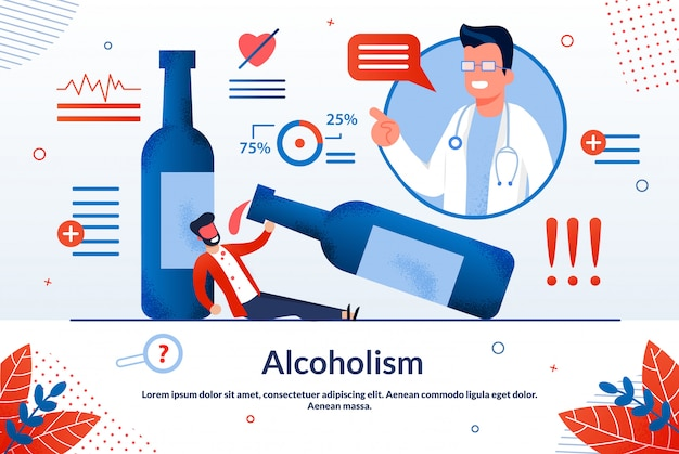 Reclame poster alcoholisme belettering cartoon.